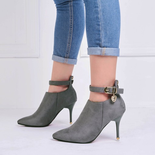 Back Zipper Pointed Toe Ankle Buckle Women's Boots