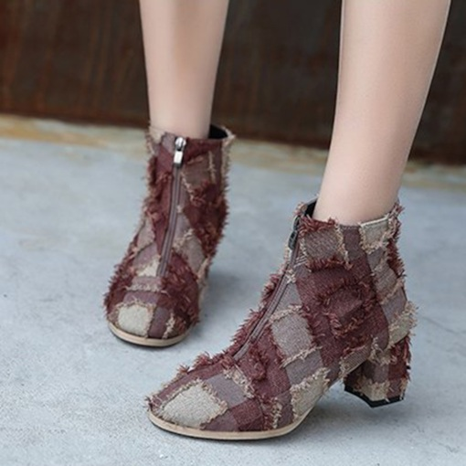 Front Zipper Chunky Heel Round Toe Cloth Patchwork Ankle Boots