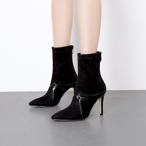 Pointed Toe Plain Stiletto Heel Back Zip Casual Women's Ankle Boots