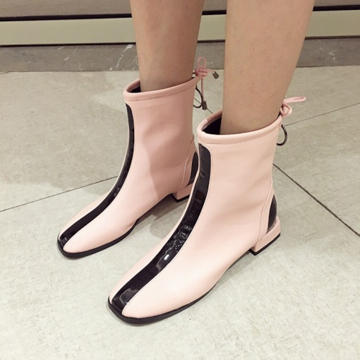 Square Toe Back Zip Block Heel Color Block Casual Chic Ankle Boots