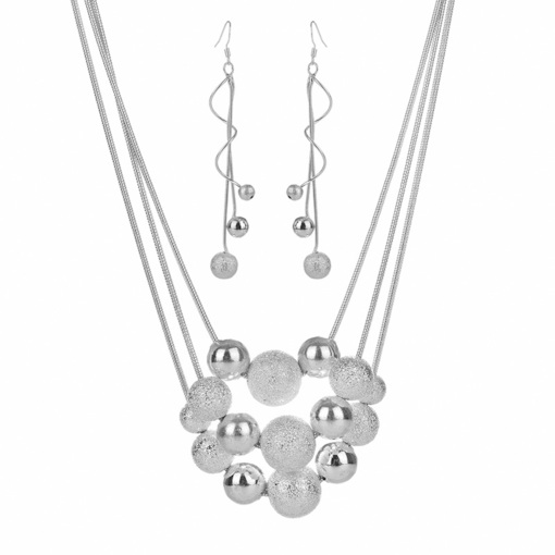 Beads Decorated Silver-Plated 2-Piece Wedding Jewelry Sets