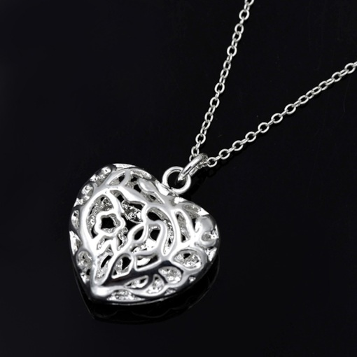 Hollow Out Heart-Shaped E-Plating Pendant Necklace