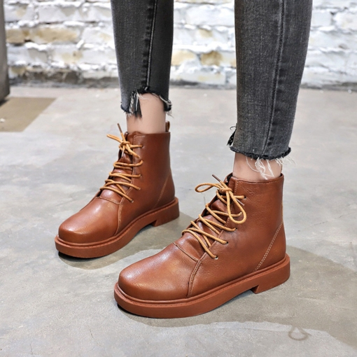 Block Heel Plain Round Toe Lace-Up Front Casual Classical Ankle Boots