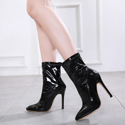 Slip-On Stiletto Heel Plain Pointed Toe Casual Chic Ankle Boots