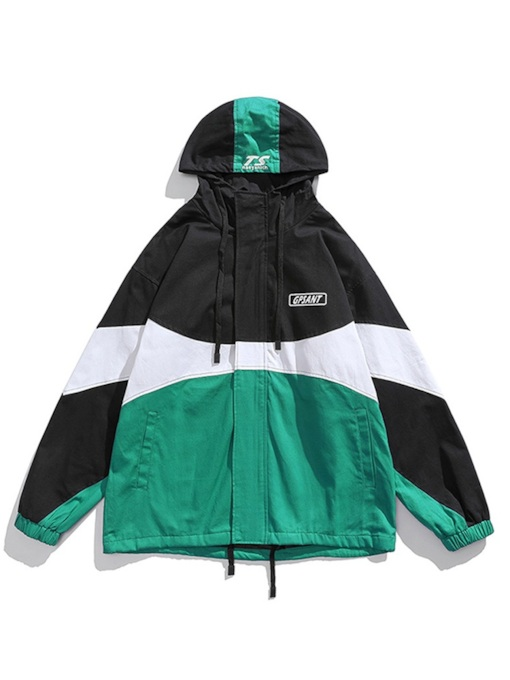 Patchwork Hooded Thick Zipper Casual Men's Jacket