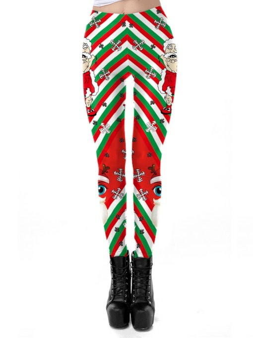 Christmas Cartoon Stripe Women's Pants