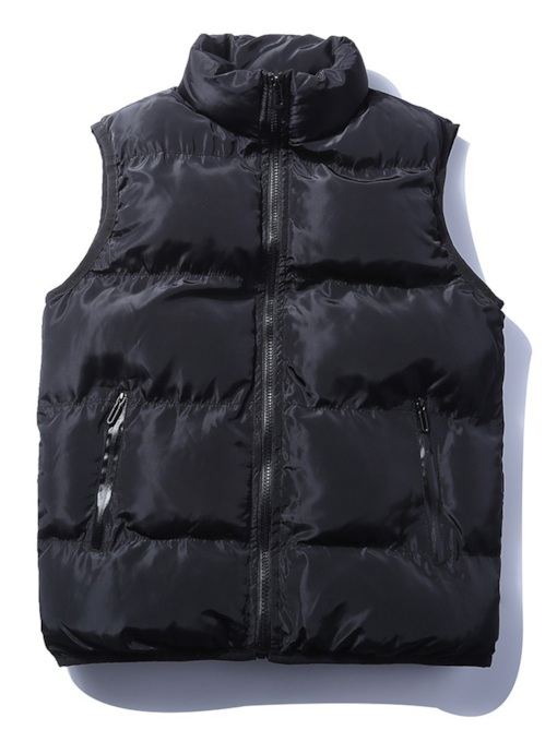 Plain Thick Stand Collar Men's Gilet