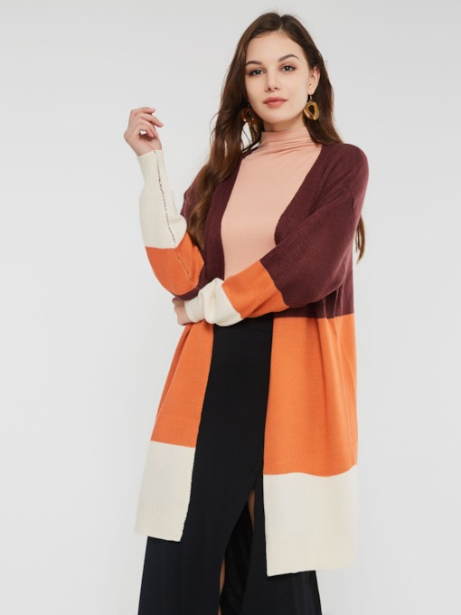 Loose Color Block Long Sleeve Women's Cardigan