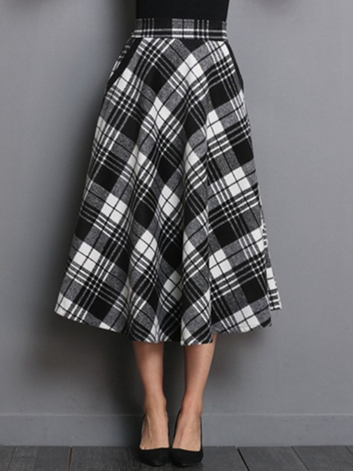 Mid-Calf High-Waist Expansion Plaid Women's Skirt
