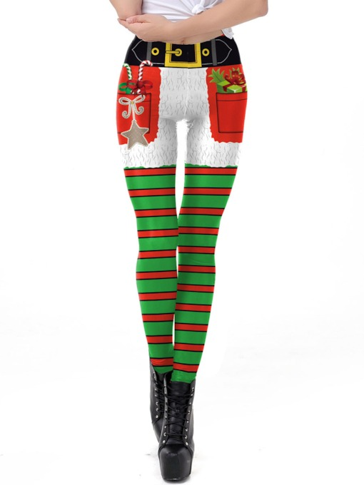 Christmas Stripe Print Women's Pants