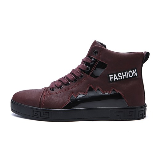 Lace-Up Patchwork High Top Round Toe Trendy Men's Skate Shoes
