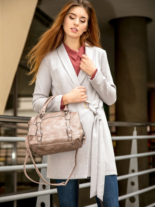Lace Up Notch Neck Mid Length Women's Trench Coat