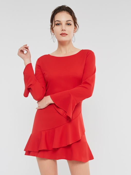Christmas Falbala A-Line Women's Long Sleeve Dress