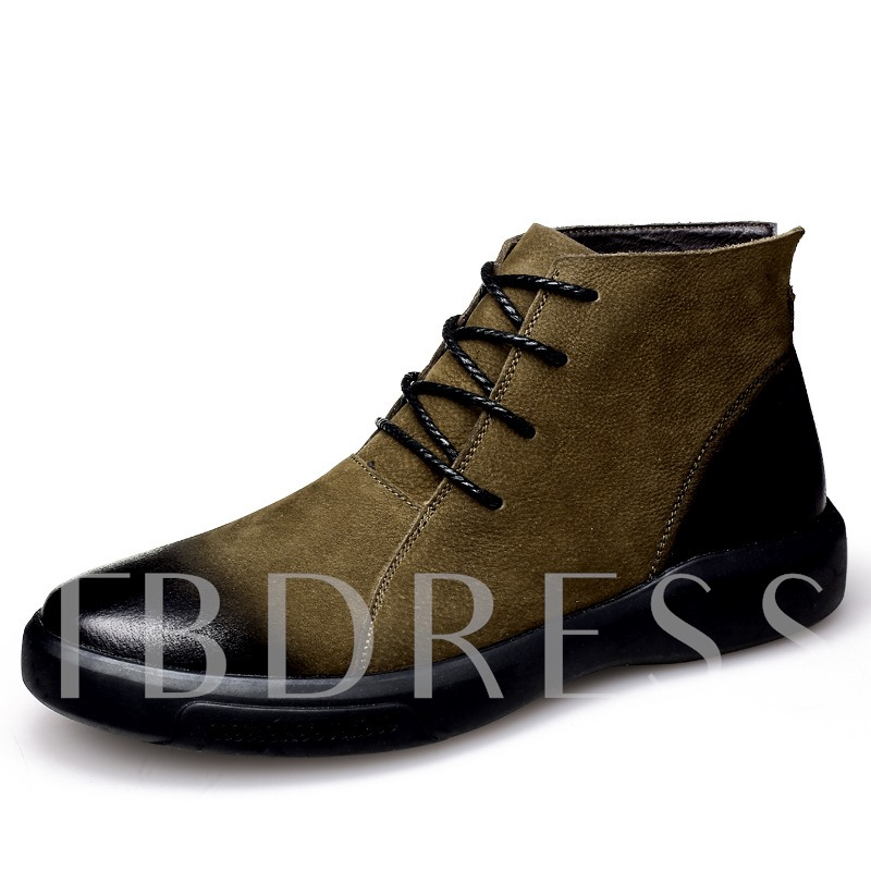 Lace-Up Front Patchwork Round Toe Comfy Men's Martin Boots