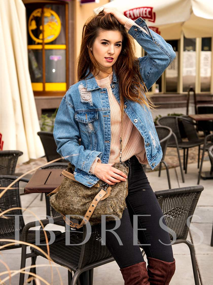 Classic Button Down Worn Long Sleeve Women's Denim Jacket