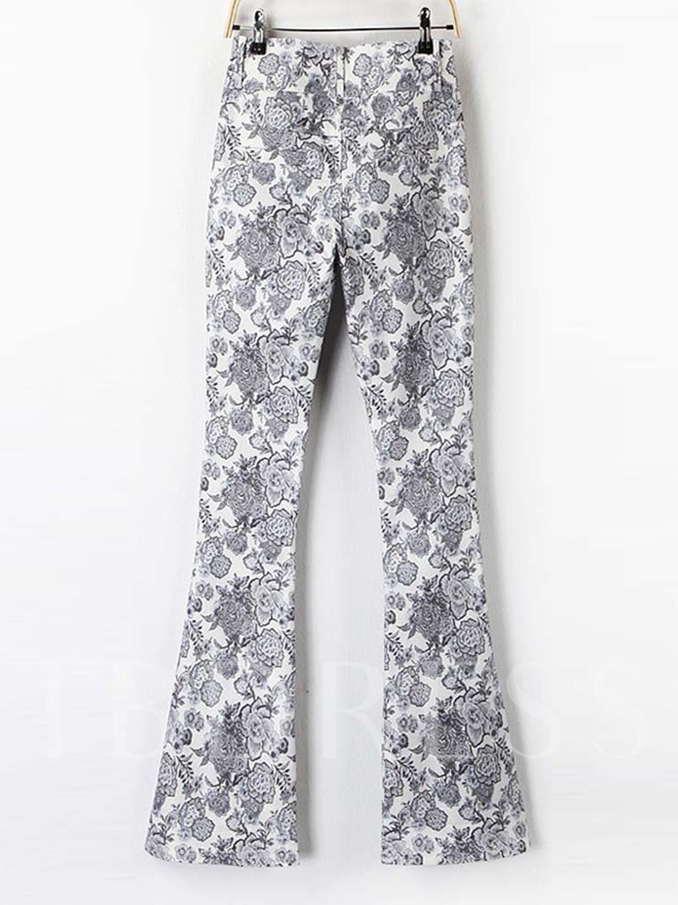 Print Slim High-Waist Women's Casual Pants