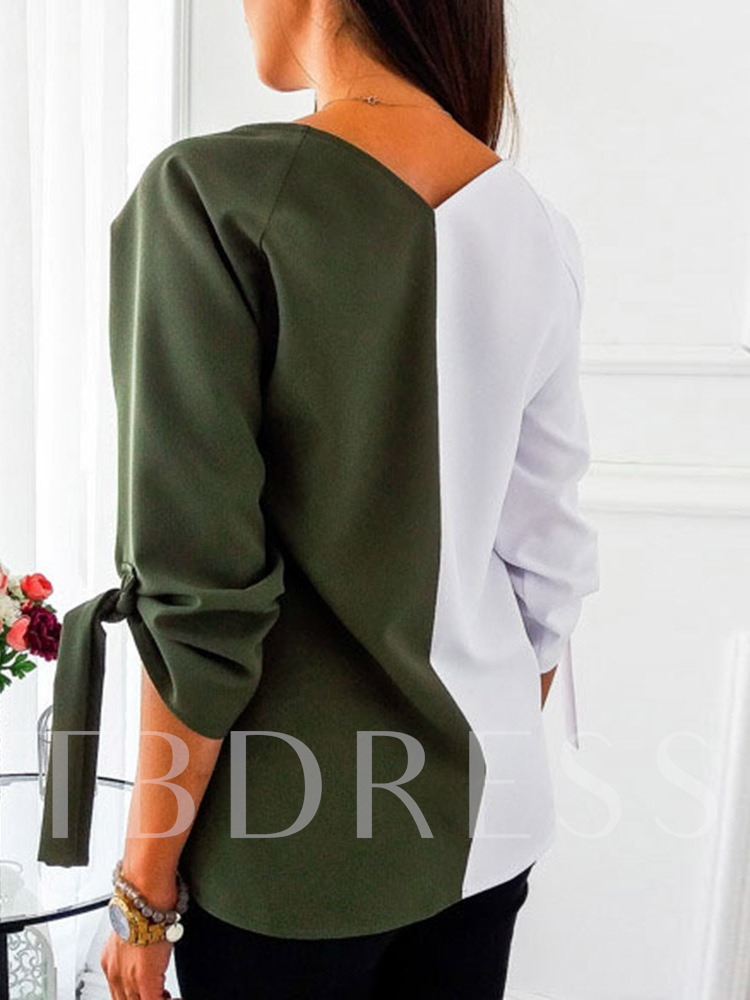 V-Neck Color Block Long Sleeve Loose Women's T-Shirt