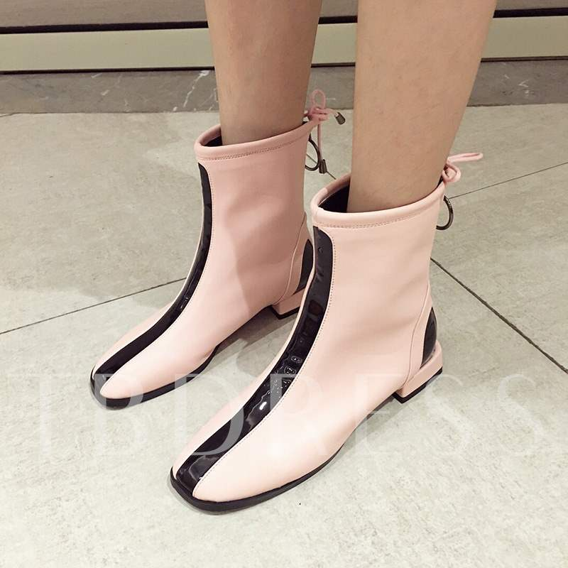 a8ef92dcc50 Square Toe Back Zip Block Heel Color Block Casual Chic Ankle Boots. Sold Out