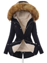 Zipper Thick Faux Fur Toggle Button Women's Cotton Padded Jacket