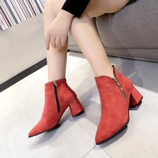 Chunky Heel Plain Side Zipper Round Toe Casual Women's Ankle Boots