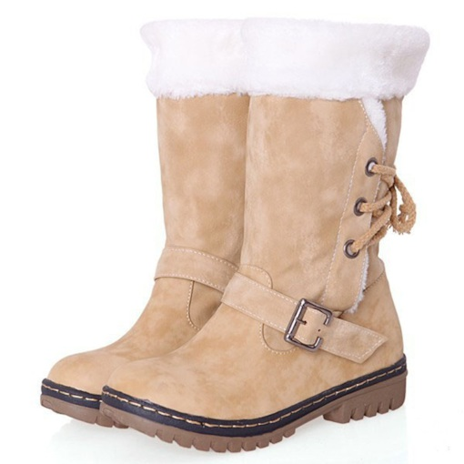 Block Heel Round Toe Lace-Up Back Plain Buckle Women's Snow Boots