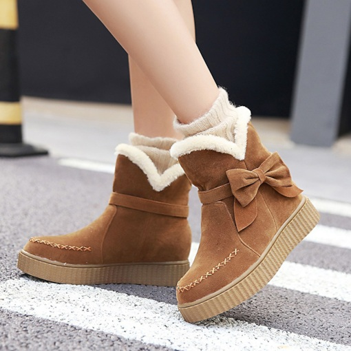Platform Plain Round Toe Slip-On Bow Chic Women's Snow Boots