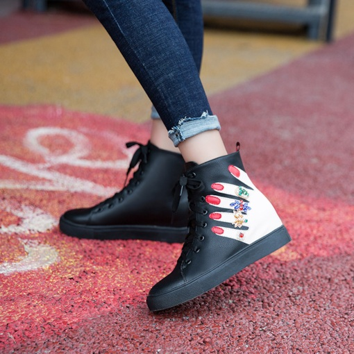 Lace-Up Front Round Toe Elevated Short Floss Versatile Ankle Boots