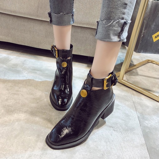 Round Toe Chunky Heel Back Zip Casual Trendy Women's Ankle Boots