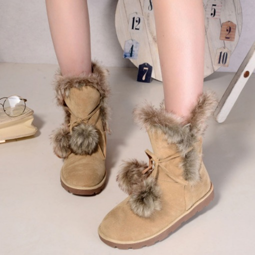 Round Toe Lace-Up Front Plain Short Floss Trendy Women's Snow Boots
