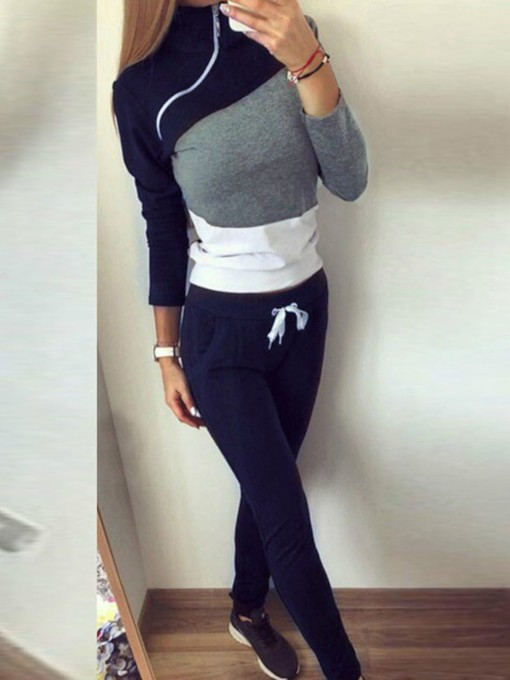 T-Shirt Western Color Block Lace-Up Pullover Women's Two Piece Sets