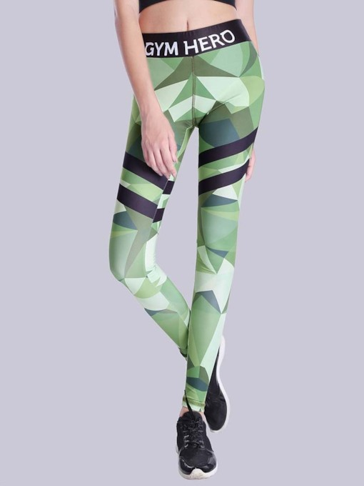 Fashion Thin Print Color Block Women's Leggings