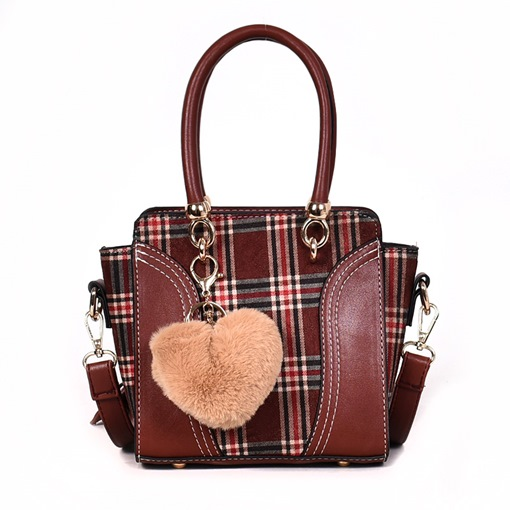 Plaid Color Block Patchwork PU Rectangle Party Tote Bags