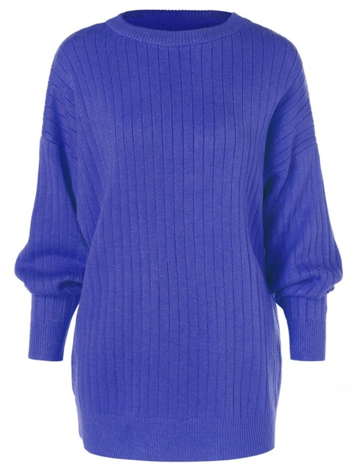 Scoop Neck Plain Mid-Length Women's Sweater
