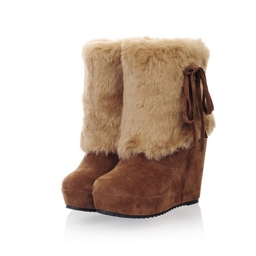 Round Toe Plain Wedge Heel Slip-On Casual Women's Snow Boots
