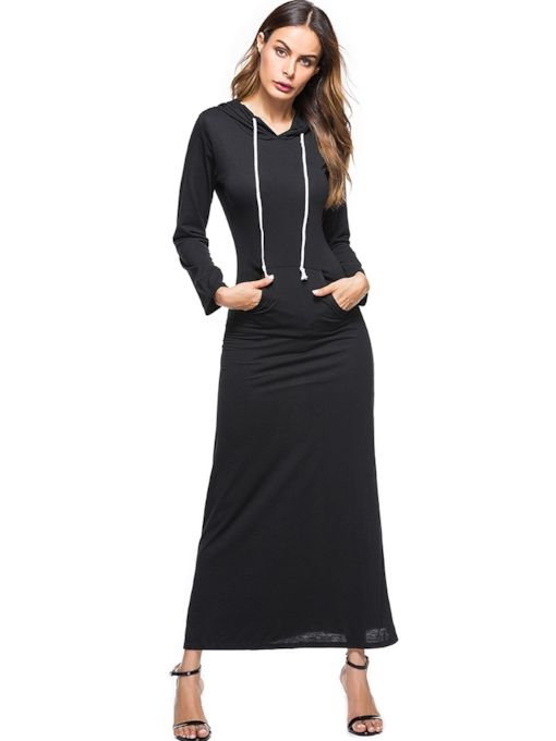 Hooded Pullover Long Sleeve Women's Maxi Dresses