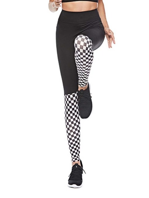 Thin Feather Casual Color Block Women's Leggings