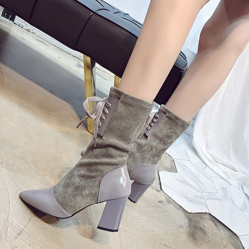 Pointed Toe Lace-Up Front Chunky Heel Cotton Women's Mid Calf Boots