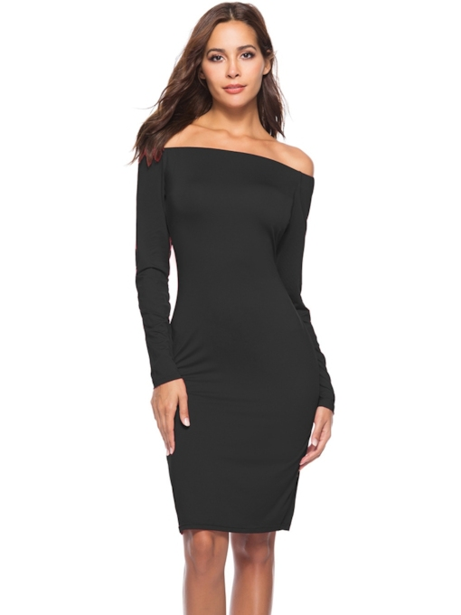 Off Shoulder Bodycon Women's Long Sleeve Dress