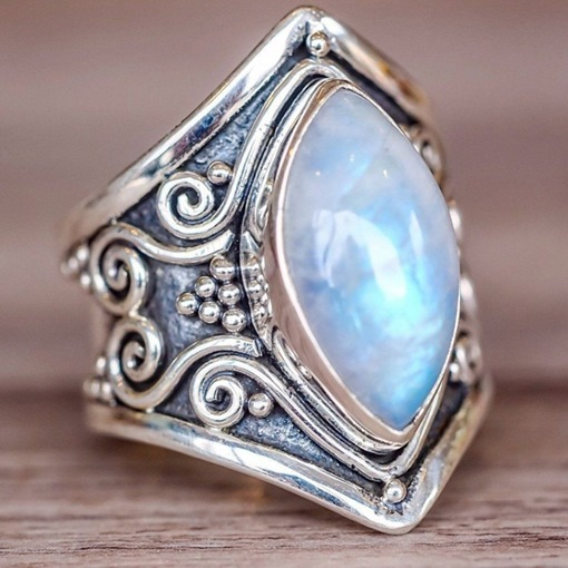 Punk Style Gemmed Antique Silver Ring