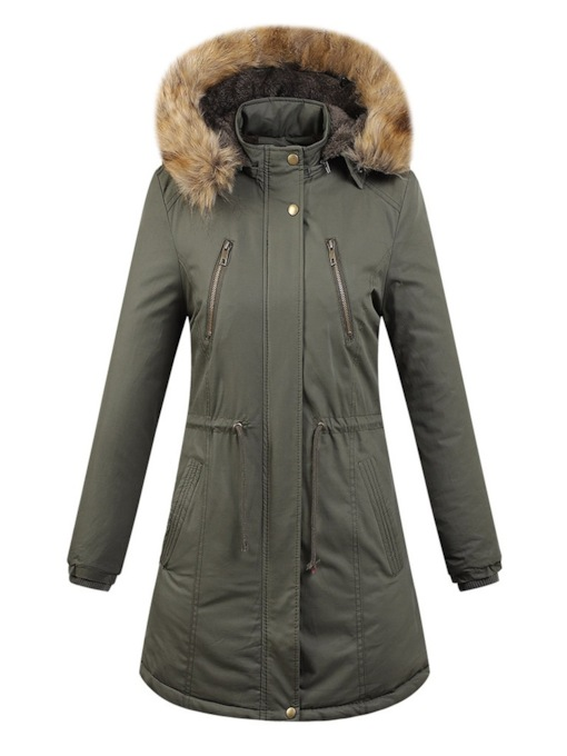Slim Lace-Up Mid-Length Warm Parka Women's Cotton Clothes