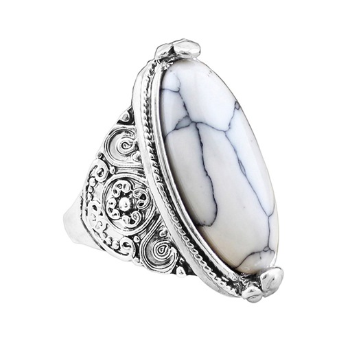 Ethnic Style White Turquoise Antique Silver Ring