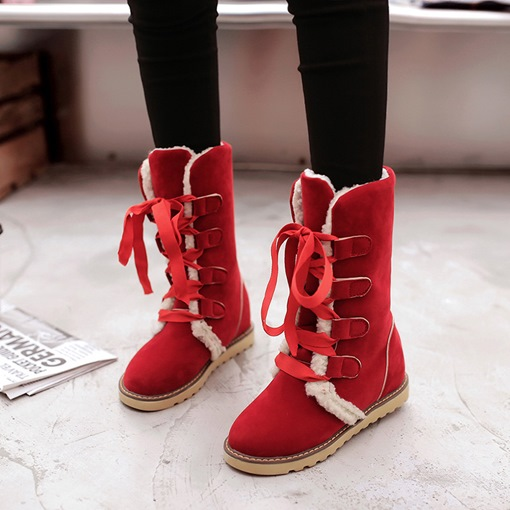Lace-Up Front Round Toe Plain Versatile Elevated Snow Boots