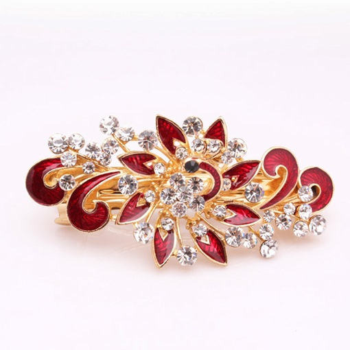 Floral Rhinestone Decorated Barrette Hair Accessories