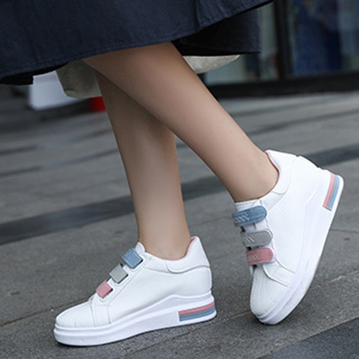 Mid-Cut Upper Velcro Platform Round Toe Casual Versatile White Shoes