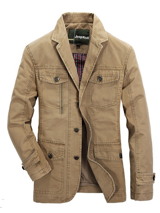 Notched Lapel Single-Breasted Slim Plain Men's Jacket