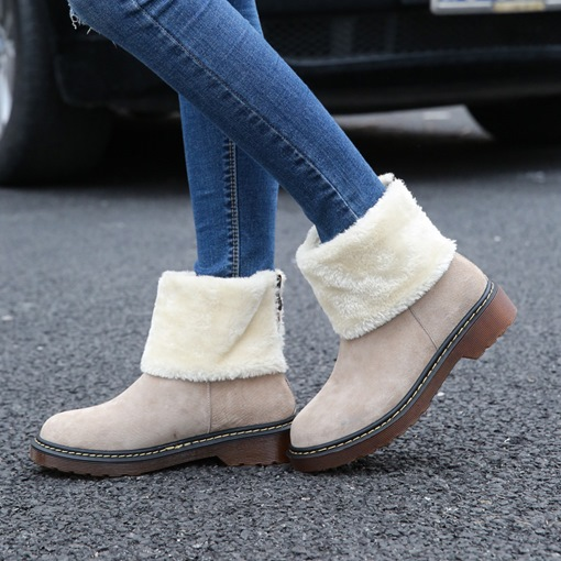 Back Zip Block Heel Round Toe Short Floss Women's Snow Boots