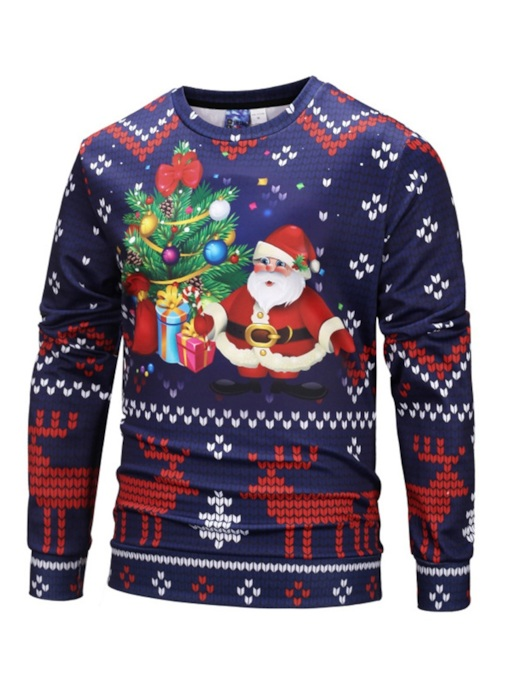 Christmas Print Slim Pullover Round Neck Men's Sweatshirt