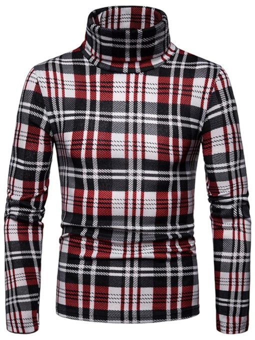 Slim Casual High Neck Plaid Patchwork Men's Sweater