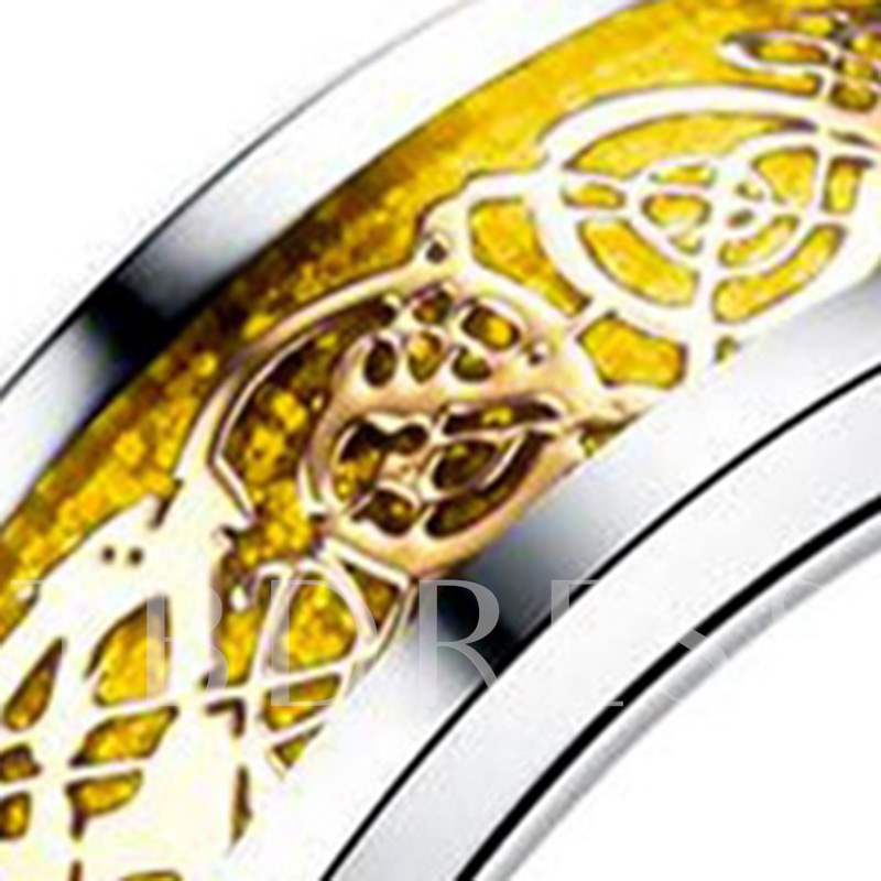 Golden Carving Stainless Steel Party Ring