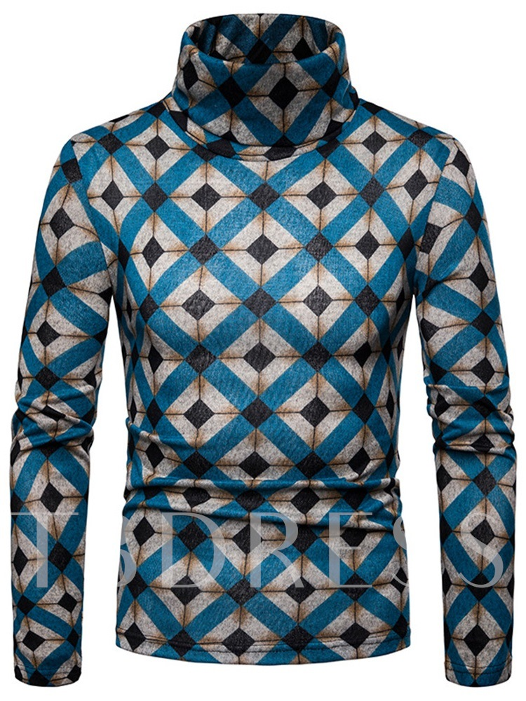 Standard Print Slim High Neck Men's Sweater